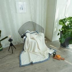 韩版剪花加厚法莱绒300克毛毯绒毯保暖毯棉麻混纺包边(麦麦)