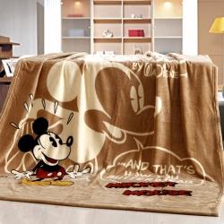 迪士尼家纺 柔软舒适法兰绒毛毯 咖啡米奇