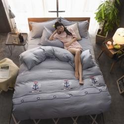 (总)ins网红水洗棉床上四件套1.8m简约床单被套火烈鸟