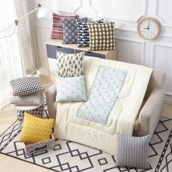 布语家纺 北欧田园棉麻风格抱枕被靠垫被两用午休空调被