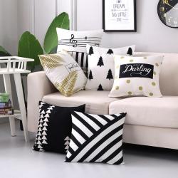 未蓝家纺 黑白几何双面印花抱枕沙发靠垫45*45含芯(总)