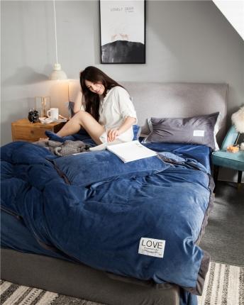 慕梵2018新品纯色双面水晶绒四件套宽边拼角套件床上用品