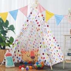 夢想屋 兒童游戲屋分床神器游戲帳篷印第安尖頂系列七彩圓點