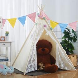 夢想屋 兒童游戲屋分床神器游戲帳篷印第安尖頂系列蕾絲小豬佩奇