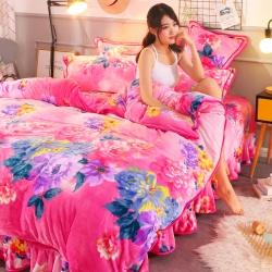 (总)新品牛奶金貂绒四件套水晶绒床裙款床裙式法莱绒四件套