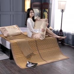 盛艳家纺 双面折叠木纹竹席 双人1.8米1.5米m宿舍凉席