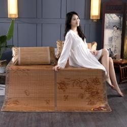 安芬家纺双面折叠竹席双人0.9m1.8米凉席 印花竹席
