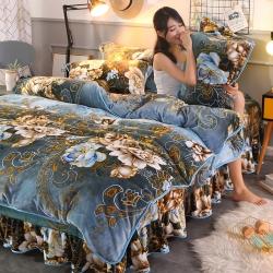 新品牛奶絨金貂絨四件套水晶絨床裙款床裙式法萊絨四件套