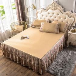 九花鹿床裙款凉席冰丝席可折叠空调软席子1.8m三件套双人席子