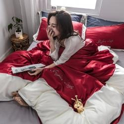 姆米系列全棉水洗真絲四件套全棉水洗天絲四件套刺繡被套床單
