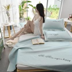 炫拼家纺 新款爆款刺绣凉席三件套 纯色冰丝席 软席 空调席