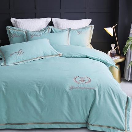 英镑家纺 2019新款简约全棉纯色床单款床笠款四件套