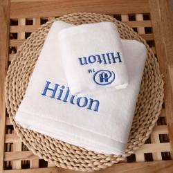 夢幻島品質家居 2019賓館酒店全棉希爾頓刺繡浴巾毛巾浴巾