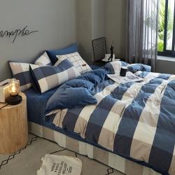 (總)平頭哥 A版全棉色織水洗棉B版水晶絨四件套床單款