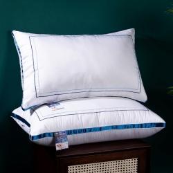 興絲露枕芯 全棉繡花羽絲枕 全棉立體雙邊枕