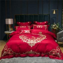 婚庆大红刺绣床上用品多件套100支纯棉长绒棉四件套花好月圆