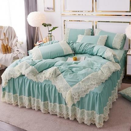 乐朵 2020春夏 丽莎 水洗棉 床裙四件套 绿色
