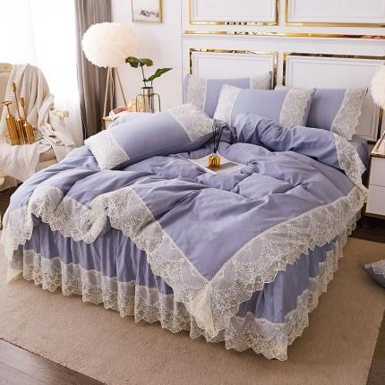 乐朵 2020春夏 丽莎 水洗棉 床裙四件套 蓝色