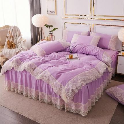乐朵 2020春夏 丽莎 水洗棉 床裙四件套 紫色