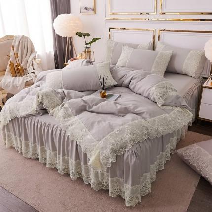 乐朵 2020春夏 丽莎 水洗棉 床裙四件套 灰色