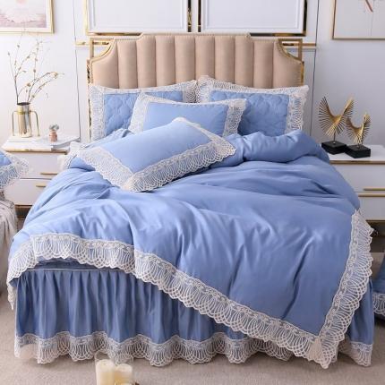 2020春夏 女皇 水洗真丝 夹棉床裙四件套 纯蓝
