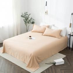 轻奢坊 2020新款水洗棉日系褶皱短花边单品床单 浅米咖