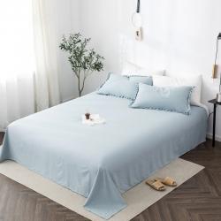 轻奢坊 2020新款水洗棉日系褶皱短花边单品床单 清水蓝