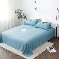 轻奢坊 2020新款水洗棉日系褶皱短花边单品床单 深湖蓝