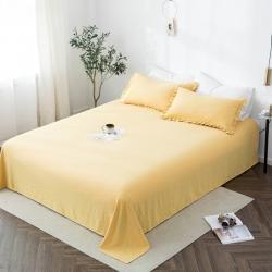 轻奢坊 2020新款水洗棉日系褶皱短花边单品床单 象牙黄
