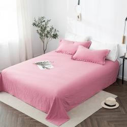 轻奢坊 2020新款水洗棉日系褶皱短花边单品床单 胭脂红