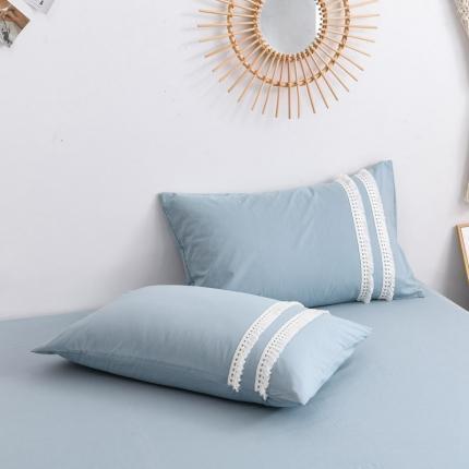 KA家纺 2020高端全棉水洗棉流苏花边枕套一对 天空蓝