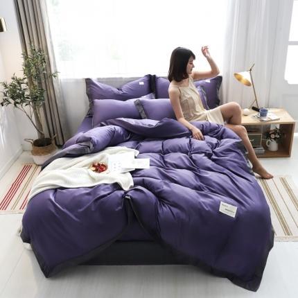 KA家纺 2020宽边拼角水洗真丝四件套 可可冷艳紫