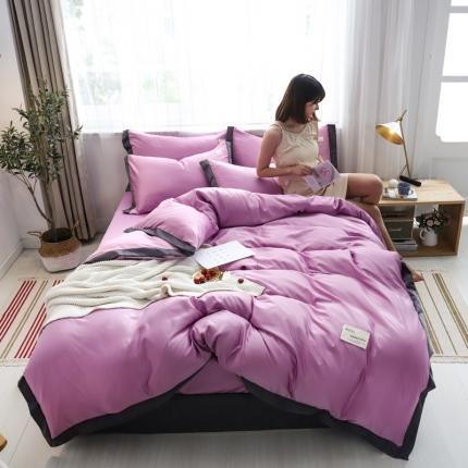 KA家纺 2020宽边拼角水洗真丝四件套 可可魅力紫