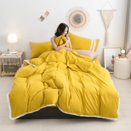 KA   2020高端全棉水洗棉流苏花边四件套 柠檬黄