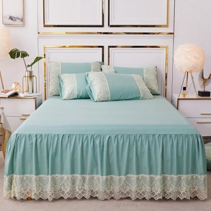 乐朵 2020新品 丽莎 水洗棉 蕾丝床裙 绿色