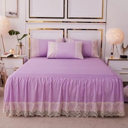 乐朵 2020新品 丽莎 水洗棉 蕾丝床裙 紫色