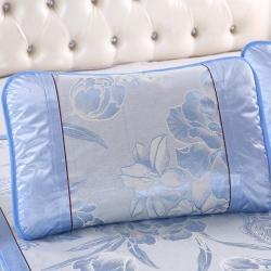 泰康席業 2020新款冰絲枕套 冰絲枕套-藍色