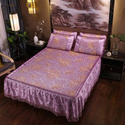 罗意席业 2020新款机洗床裙凉席 国色牡丹-紫