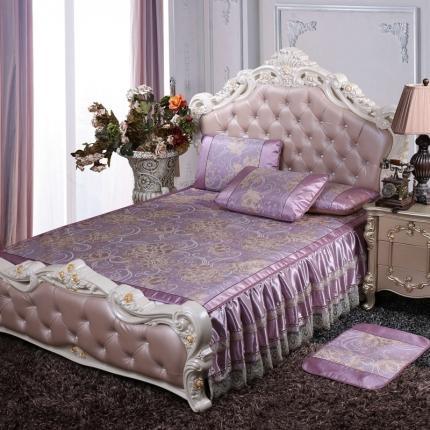 罗意 2020新款欧式床裙款凉席 欧式盛世牡丹-紫