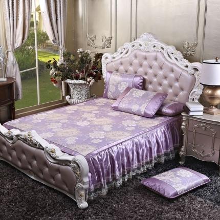 罗意 2020新款欧式床裙款凉席 欧式盛世巴黎-紫
