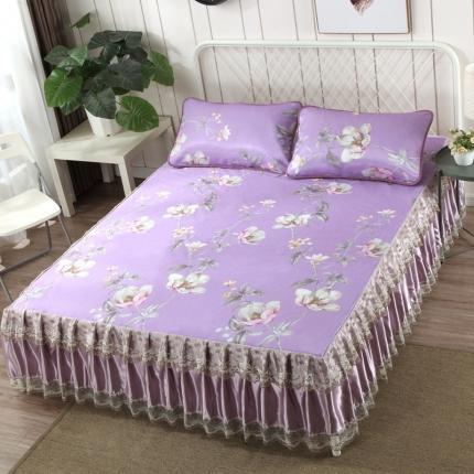 罗意 2020新款新款床裙冰丝席 静怡花开-紫