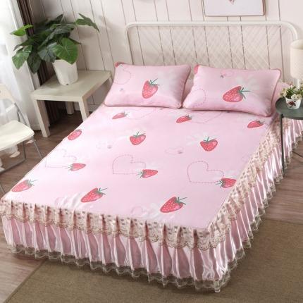 罗意 2020新款新款床裙冰丝席 草莓甜心