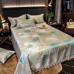 (总)居家元素2021花边床裙款600D提花冰丝凉席多件套