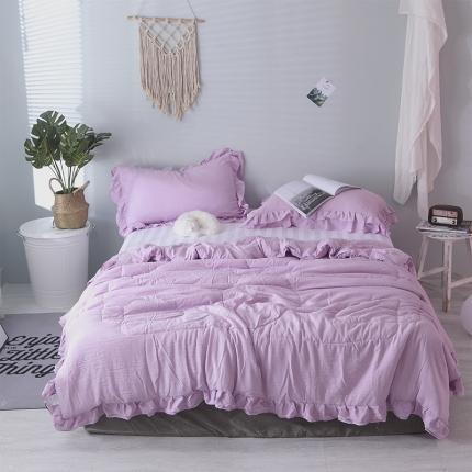 安朵家居 2020新款双层花边水洗棉夏被三件套 爱丽丝紫