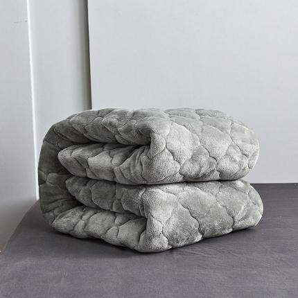 沐锦家纺(550g加厚)法莱绒夹棉软床垫 垫子 灰色