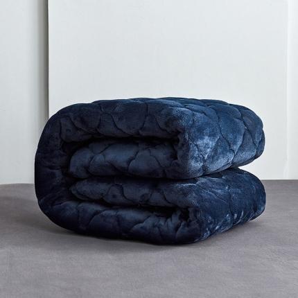 沐锦家纺(550g加厚)法莱绒夹棉软床垫 垫子 蓝色