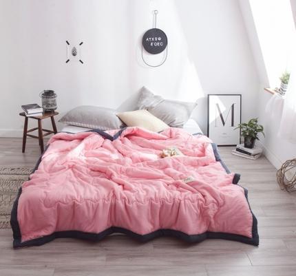 宇淳 2020新款国际纯色水洗棉单夏被 夏洛特-玫瑰粉