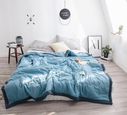 宇淳 2020新款国际纯色水洗棉单夏被 夏洛特-水蓝