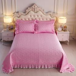 舒一 2020新款水洗真丝凉席床盖三件套 粉色