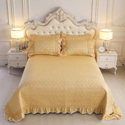 舒一 2020新款水洗真丝凉席床盖三件套 金色
